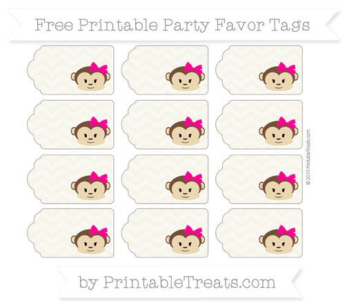Free Eggshell Chevron Girl Monkey Party Favor Tags