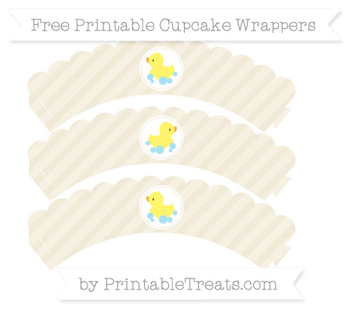 Free Eggshell Diagonal Striped Baby Duck Scalloped Cupcake Wrappers