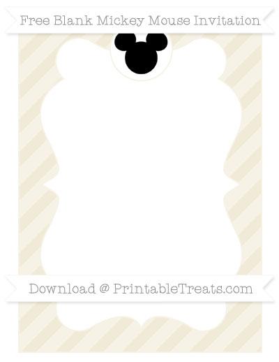 Free Eggshell Diagonal Striped Blank Mickey Mouse Invitation