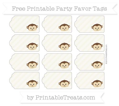 Free Eggshell Diagonal Striped Boy Monkey Party Favor Tags