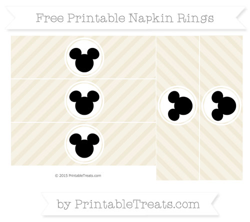 Free Eggshell Diagonal Striped Mickey Mouse Napkin Rings