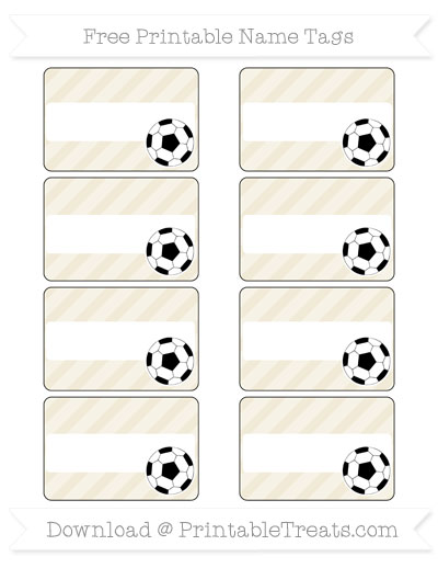 Free Eggshell Diagonal Striped Soccer Name Tags