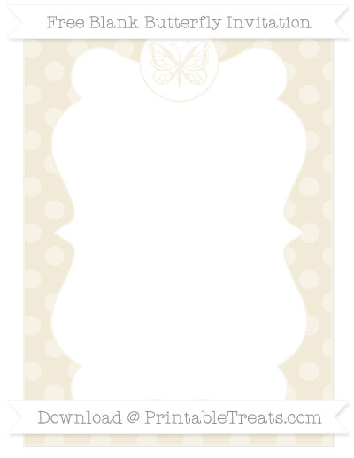 Free Eggshell Dotted Pattern Blank Butterfly Invitation