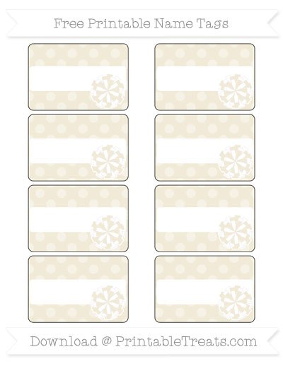 Free Eggshell Dotted Pattern Cheer Pom Pom Tags