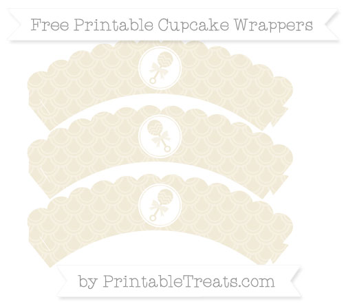 Free Eggshell Fish Scale Pattern Baby Rattle Scalloped Cupcake Wrappers