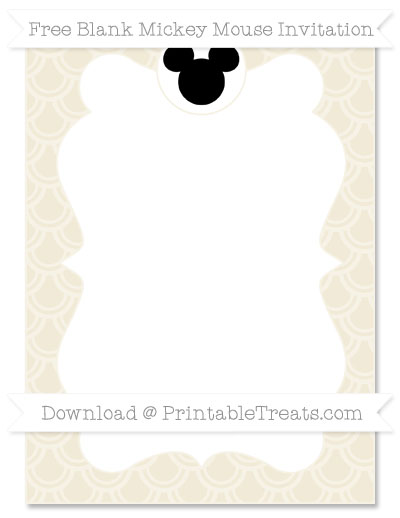 Free Eggshell Fish Scale Pattern Blank Mickey Mouse Invitation