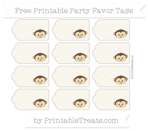 Free Eggshell Fish Scale Pattern Boy Monkey Party Favor Tags
