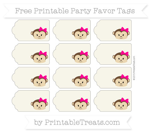 Free Eggshell Girl Monkey Party Favor Tags