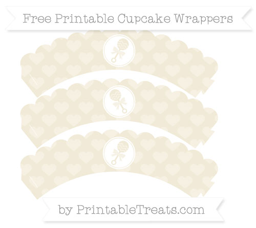 Free Eggshell Heart Pattern Baby Rattle Scalloped Cupcake Wrappers
