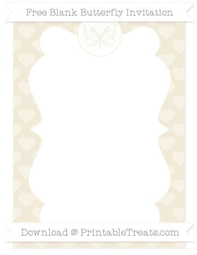 Free Eggshell Heart Pattern Blank Butterfly Invitation