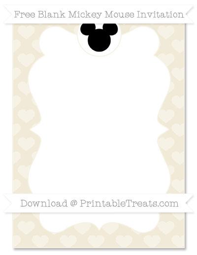 Free Eggshell Heart Pattern Blank Mickey Mouse Invitation