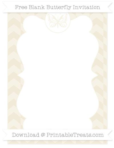 Free Eggshell Herringbone Pattern Blank Butterfly Invitation