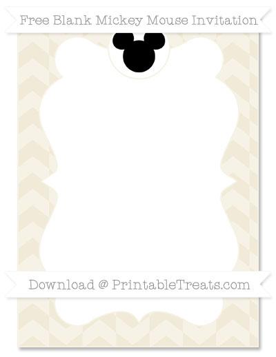 Free Eggshell Herringbone Pattern Blank Mickey Mouse Invitation