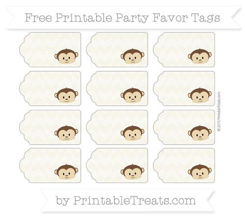 Free Eggshell Herringbone Pattern Boy Monkey Party Favor Tags