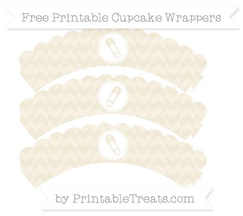 Free Eggshell Herringbone Pattern Diaper Pin Scalloped Cupcake Wrappers