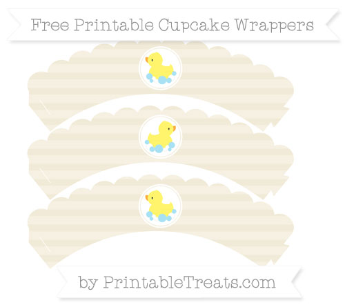 Free Eggshell Horizontal Striped Baby Duck Scalloped Cupcake Wrappers