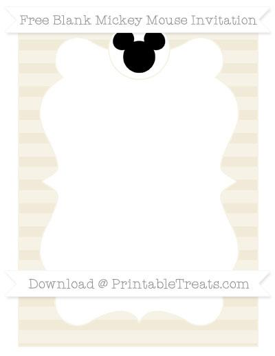 Free Eggshell Horizontal Striped Blank Mickey Mouse Invitation