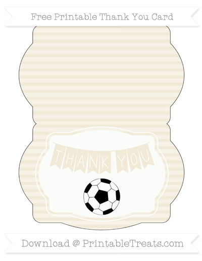 Free Eggshell Horizontal Striped Soccer Thank You Card