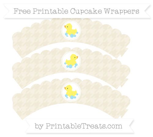 Free Eggshell Houndstooth Pattern Baby Duck Scalloped Cupcake Wrappers