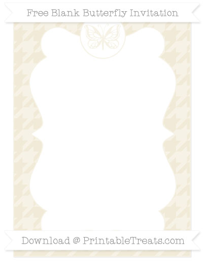 Free Eggshell Houndstooth Pattern Blank Butterfly Invitation