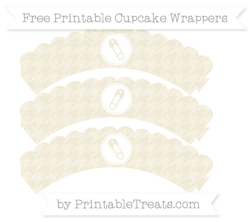 Free Eggshell Houndstooth Pattern Diaper Pin Scalloped Cupcake Wrappers