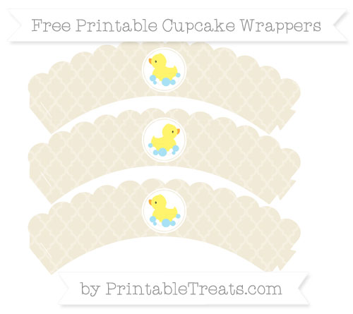 Free Eggshell Moroccan Tile Baby Duck Scalloped Cupcake Wrappers