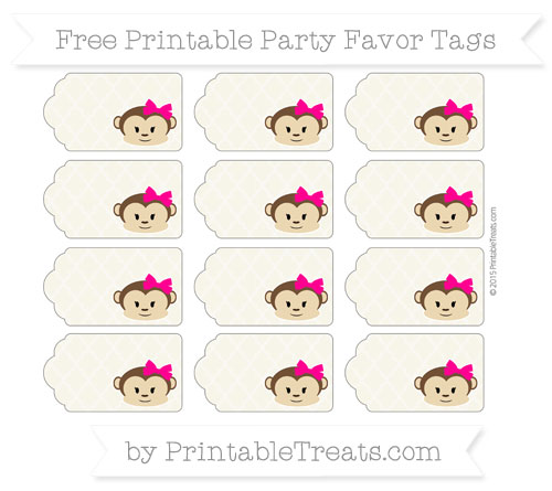 Free Eggshell Moroccan Tile Girl Monkey Party Favor Tags