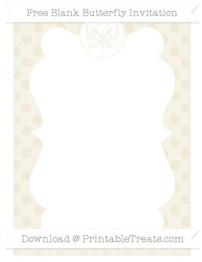 Free Eggshell Polka Dot Blank Butterfly Invitation