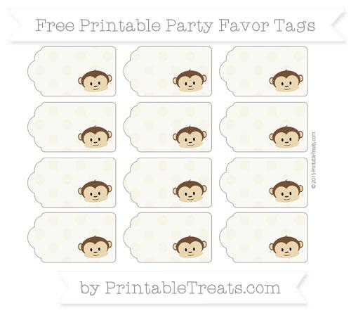Free Eggshell Polka Dot Boy Monkey Party Favor Tags