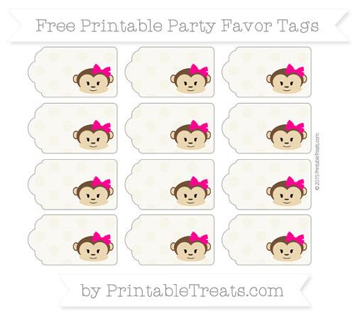 Free Eggshell Polka Dot Girl Monkey Party Favor Tags