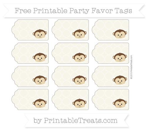 Free Eggshell Quatrefoil Pattern Boy Monkey Party Favor Tags