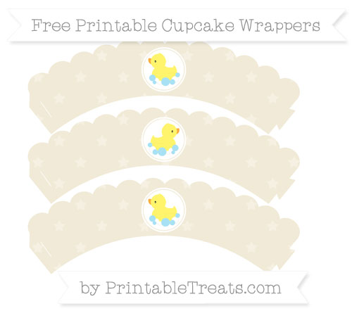 Free Eggshell Star Pattern Baby Duck Scalloped Cupcake Wrappers