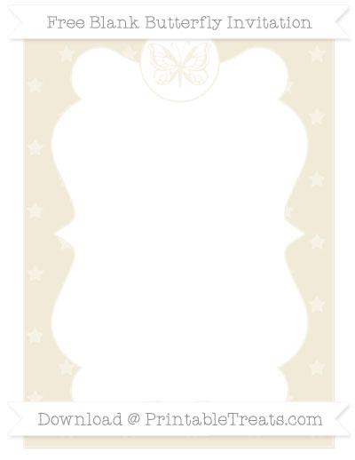 Free Eggshell Star Pattern Blank Butterfly Invitation