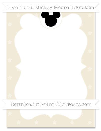 Free Eggshell Star Pattern Blank Mickey Mouse Invitation