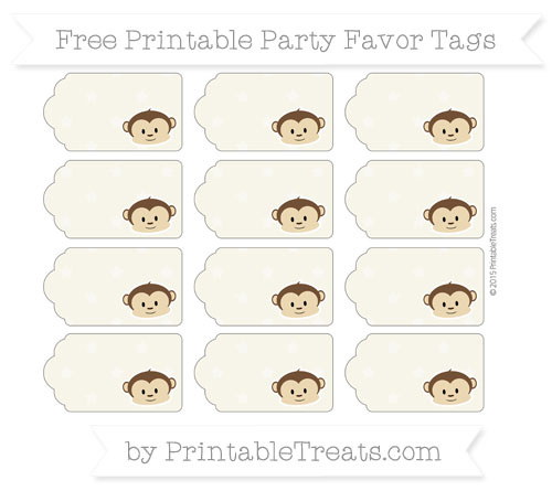 Free Eggshell Star Pattern Boy Monkey Party Favor Tags