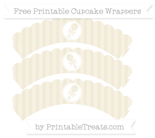 Free Eggshell Striped Baby Rattle Scalloped Cupcake Wrappers