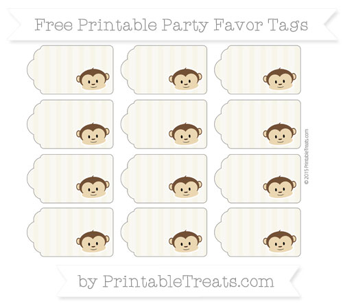 Free Eggshell Striped Boy Monkey Party Favor Tags