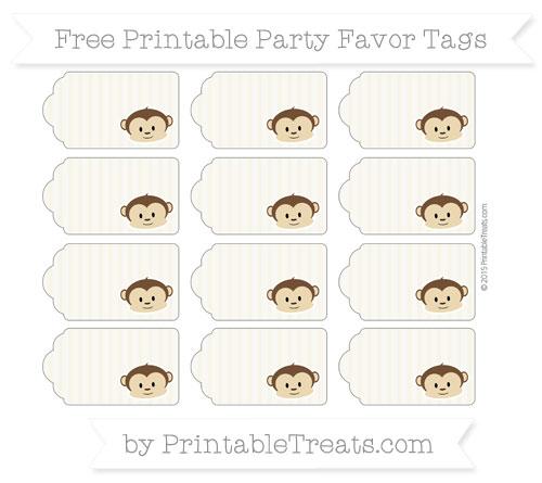 Free Eggshell Thin Striped Pattern Boy Monkey Party Favor Tags