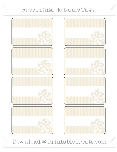 Free Eggshell Thin Striped Pattern Cheer Pom Pom Tags