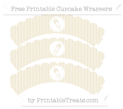 Free Eggshell Thin Striped Pattern Diaper Pin Scalloped Cupcake Wrappers