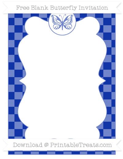 Free Egyptian Blue Checker Pattern Blank Butterfly Invitation