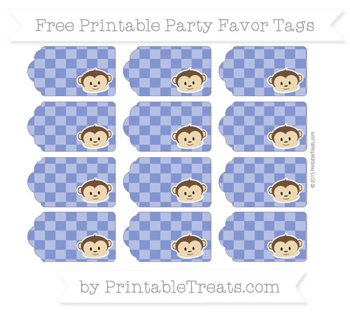 Free Egyptian Blue Checker Pattern Boy Monkey Party Favor Tags
