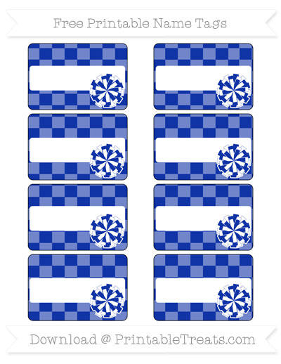 Free Egyptian Blue Checker Pattern Cheer Pom Pom Tags