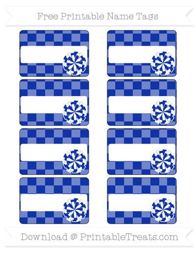 Free Egyptian Blue Checker Pattern Cheer Pom Pom Tags