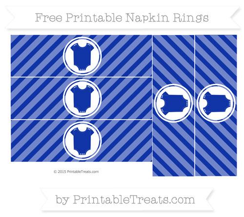 Free Egyptian Blue Diagonal Striped Baby Onesie Napkin Rings