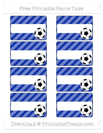 Free Egyptian Blue Diagonal Striped Soccer Name Tags