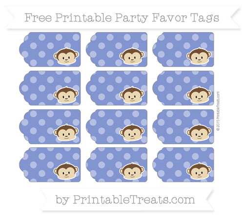 Free Egyptian Blue Dotted Pattern Boy Monkey Party Favor Tags
