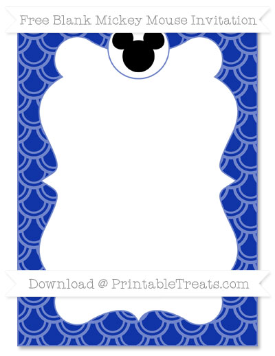 Free Egyptian Blue Fish Scale Pattern Blank Mickey Mouse Invitation