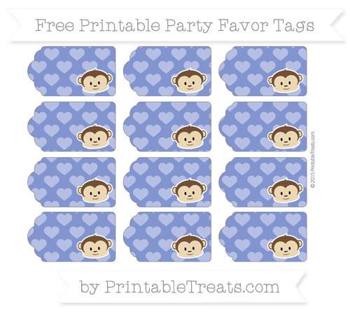 Free Egyptian Blue Heart Pattern Boy Monkey Party Favor Tags