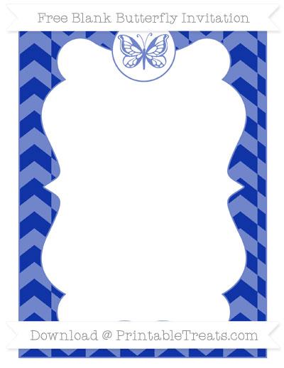 Free Egyptian Blue Herringbone Pattern Blank Butterfly Invitation